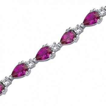 Created Ruby Bracelet Sterling Silver Pear Shape 6.75 Carats - CB1141DRNJ5