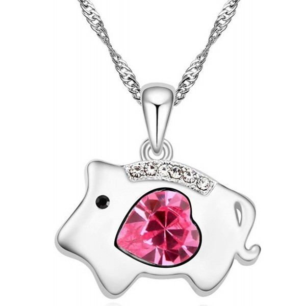 Shining Life Pig Swarovski Elements Women's Crystal Pendant Necklace - CN11TC9NWXT