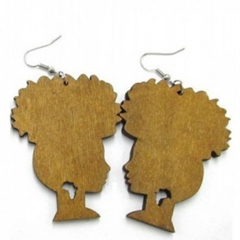 Afro Puff Natural Hair Wooden Earrings - Light Brown - CY12O1R8HYF
