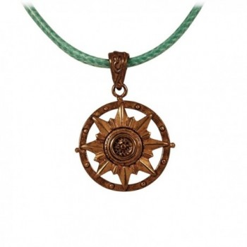 "Nautical Compass Pendant Crafted in Marine Grade Bronze on a 16"" (Adjustable to 18"") Necklace Cord - CX11DBYOXF7"