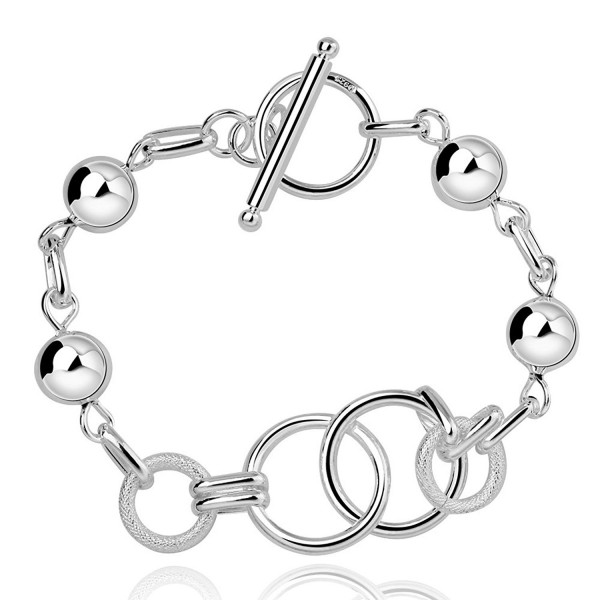 lureme Silver Plated Jewelry Geometry Circle with Balls Toggle Clasps Bracelets Bangle for Women Girls(06002775) - CP12F5XRV7X