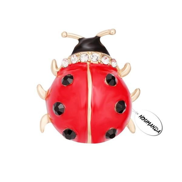 NOUMANDA Lovely Red Enamel Ladybug Brooch Pin - CH17X66CYE4