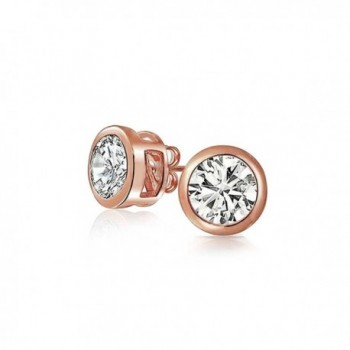 Bling Jewelry Bezel Set Round CZ Stud earrings Rose Gold Plated 6mm - C511EWLMZSF