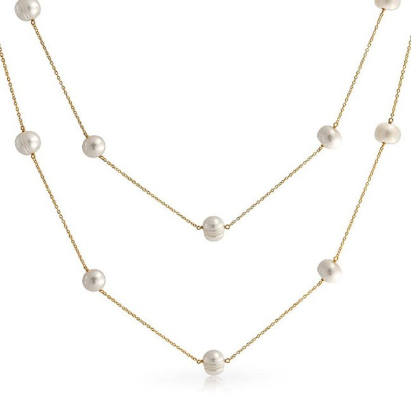 Bling Jewelry White Freshwater Cultured Pearl Gold Plated Tin Cup Necklace 36 Inches - CN11KEN8DQD