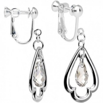 Body Candy Handcrafted Silver Plated Clear Trefoil Clip On Earrings Created with Swarovski Crystals - C812G8L9EFD