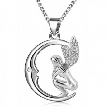 Long Way 925 Sterling Silver Moon Guardian Angel Wings Pendant Necklace for Girls Women - CT1856EX5TA