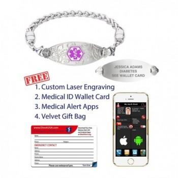 Divoti Engraved Filigree Stainless Purple 7 5 in Women's ID Bracelets