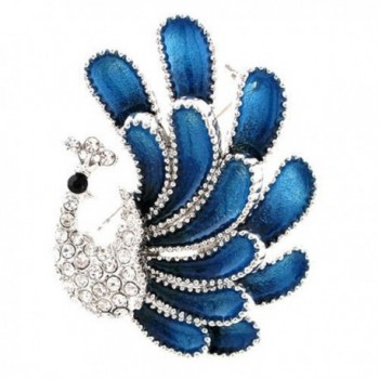 Top Cheer Rhinestone Alloy Fashion Blue Peacock Brooches & Pins-2pcs/pack - CM184XUU0HC