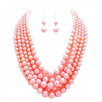 Pink Faux Pearl Multi Strand Necklace with Pierced Dangle Earrings - C012E1NI48X