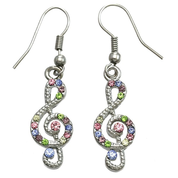 SoulBreezeCollection Treble Clef Music Note Earrings Dangle Drop Style Rhinestones Fashion Jewelry - Multi-Color - CP119U4NGGT