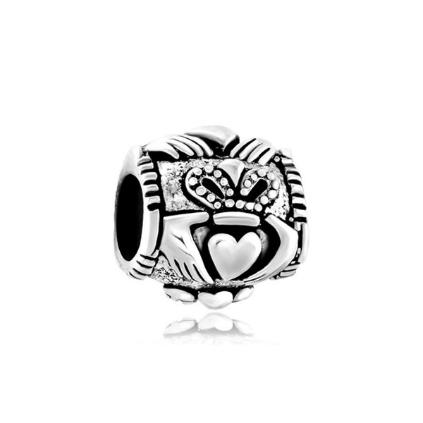 Q&Locket 925 Sterling Silver Irish Claddagh Heart Best Friend Charm Friendship Charms For Bracelet - CN17Z3XZ2DS