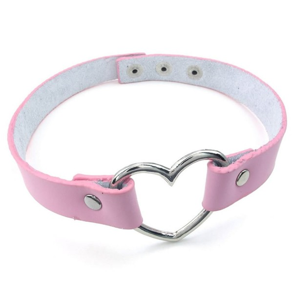 KONOV Womens Leather Choker Necklace- Grils Punk Goth Emo Heart Collar Choker Chain- Pink Silver - CN127L12MNP