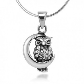 925 Oxidized Sterling Silver Tiny Little Owl with Crescent Moon Pendant Necklace- 18 inches - CO11V0OJU0D