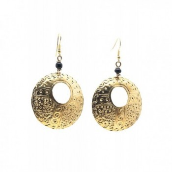 Maisha Fair Trade Hammered Brass Circle Hoop Drop Earring - CE11ENHR3AR