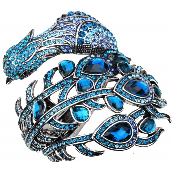 YACQ Jewelry Women's Crystal Big Peacock Bangle Bracelet - Blue - CA12GELKXPR