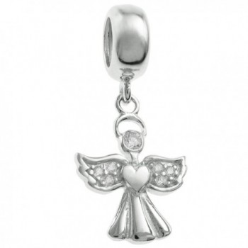 Rhodium-plated Sterling Silver Clear Cubic Zirconia Angel European Style Dangle Bead Charm - CV124AV3DOP