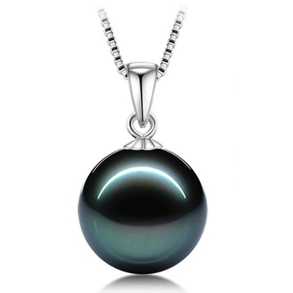 L'vow 12mm White or Black Pearl Pendant Necklace Set Sterling Silver Chain - CY12878M3X5