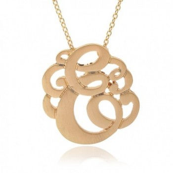 Brush Metal Gold Plated Initial Monogram Split Chain Necklace (Initial E) - CW11EE175RJ