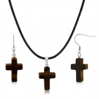 Gorgeous Tigers Eye Cross Necklace Set With Matching Tigers Eye Stone Earrings - CU12CNSFLHZ