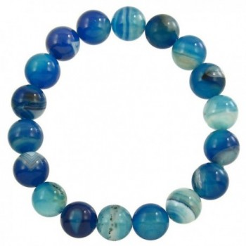 Falari 10mm Natural Semi Precious Gemstone Stretch Bracelet Unisex - Blue Agate - CT12FCY34RV