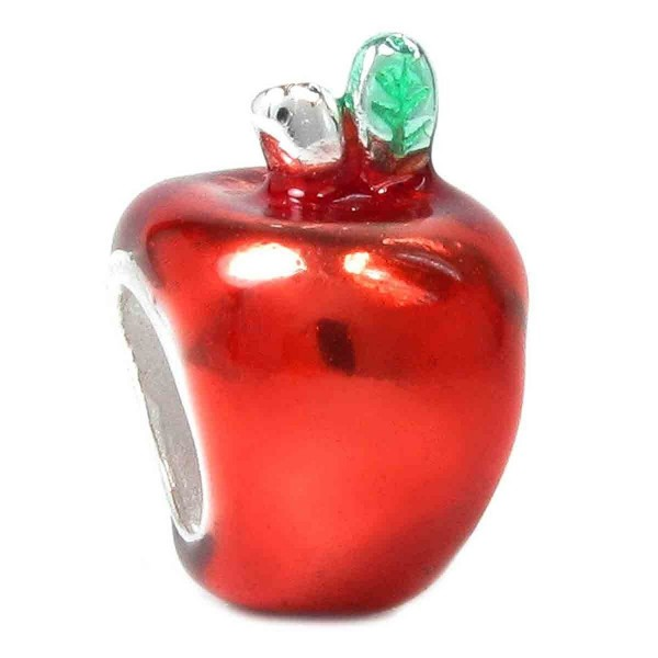.925 Sterling Silver Cute Red Enamel Apple Bead Charm For European Charm Bracelets - CR114NVIIK3