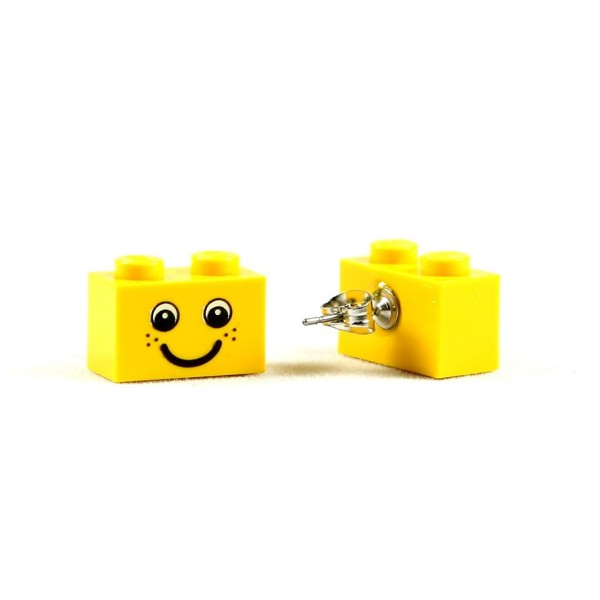 LEGO Happy Smiley Face Stud Earrings Brick 1X2 Jewelry - CD119MO20GJ