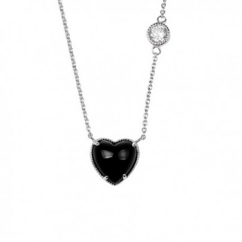 "Sterling Silver White Cubic Zirconia Black Onyx Stone Heart Shape Rhodium Plated 18"" Pendant Necklace - CG12KJNZXPL"