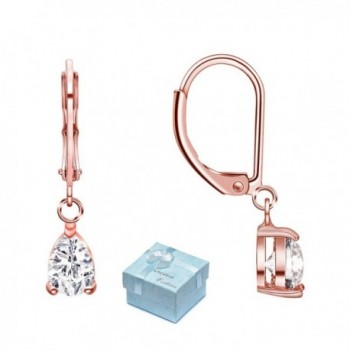 Buyless Fashion Hypoallergenic Surgical Steel Leverback Rose Gold Earring with Dangle CZ Stud - CG182ZORUO5