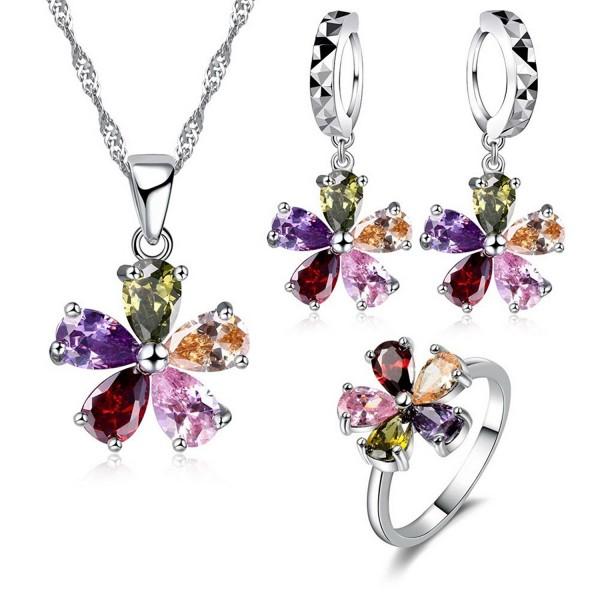 JEMMIN Colorful AAA Zircon Flower Necklace Earring Ring Jewelry Gift Sets for Women - CA12NQYXCO8