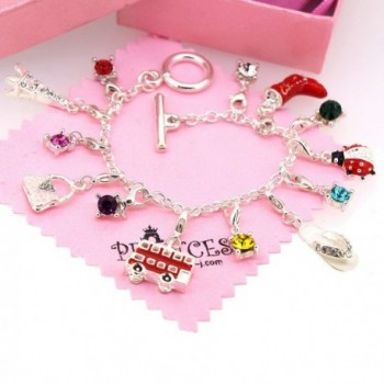 Silver Plated Link Chain Bracelet with 13 Removable Charms for Kids Teen Girls Women - CI11971D5F7
