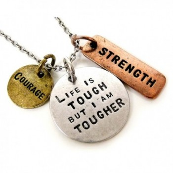 Life is Tough But I Am Tougher Three Tone Antique Stamped Pendant Charm Necklace - CP11D0OYC2H