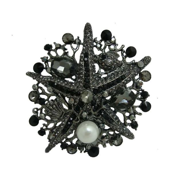 TTjewelry Vintage Style Rhinestone Crystal Starfish Brooch Pin - Black - C8124SL8C0D