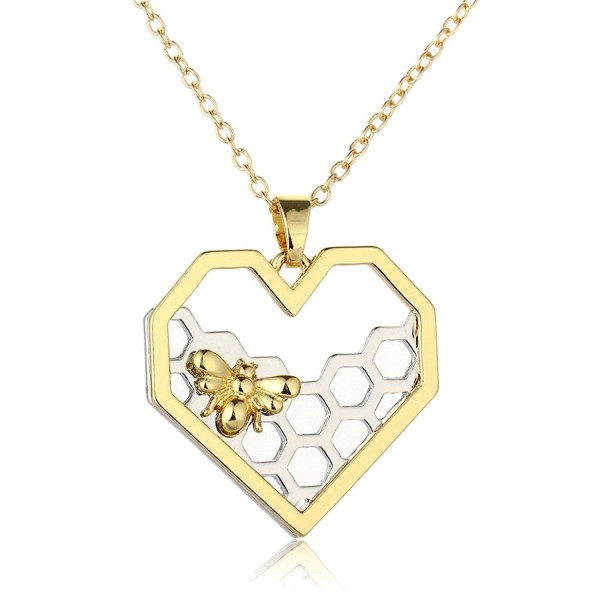Heart Hexagon Silver Honeycomb Necklace-CHUYUN Gold Honeybee Charm Nature Jewelry - CW185DTN789