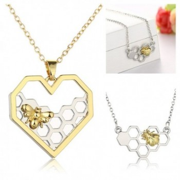 Hexagon Honeycomb Necklace CHUYUN Honeybee in Women's Pendants