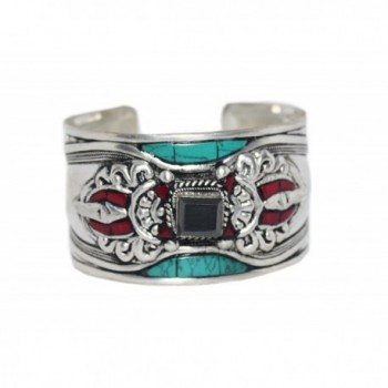 Turquoise Coral Onyx Bracelet Tibetan Cuff Bracelet- Nepal Bracelet- Yoga Bracelet - CU12C0UEH8F
