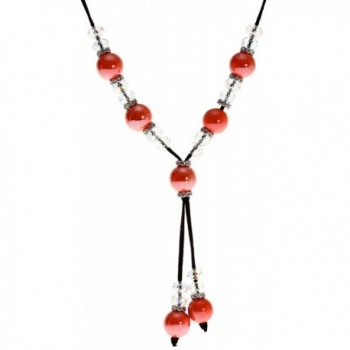 Royal Diamond Bold Orange Ceramic Bead and Faceted Clear Crystal Suede Cord Necklace - CC11DFDTADD