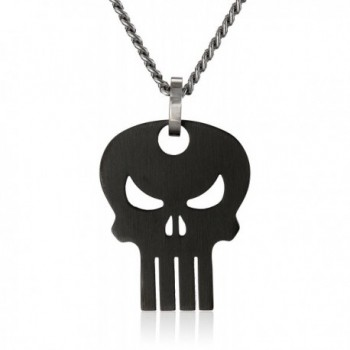 "Marvel Comics Unisex Punisher Black Skull Stainless Steel Chain Pendant Necklace- 24"" - CO11PZUCMFX"