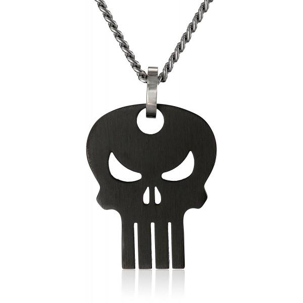 "Marvel Comics Unisex Punisher Black Skull Stainless Steel Chain Pendant Necklace- 24"" - CO11PZUCMFX"