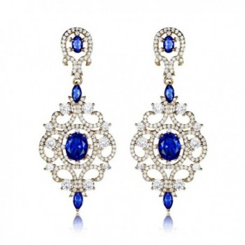 GULICX Long Sapphire Color Blue Zircon Crystal Chandelier Dangle Earrings Gold Tone - CL12NYEOBNB