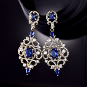 GULICX Sapphire Crystal Chandelier Earrings