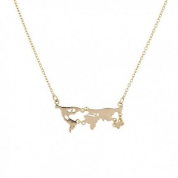 Lux Accessories Gold Tone World Map Continent Shape Novelty Plated Necklace - CV12O0KF4H5