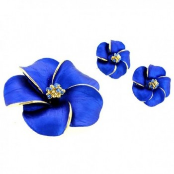 Blue Hawaiian Plumeria Swarovski Crystal Flower Pin Brooch And Earrings Gift Set - CQ11BBNIE2N