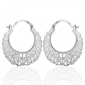 Cos2be Silver Plated Hollow Lace Hoop Earrings - CE12FLT1807