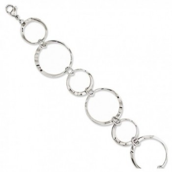 "Stainless Steel Polished Wavy Circles 8in Bracelet Length 8"" - C711BD73GUH"