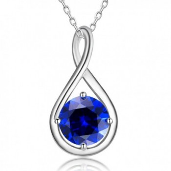 Caperci Sterling Silver Cubic Zirconia Infinity Pendant Necklace - Blue - C9186Z8LKNW