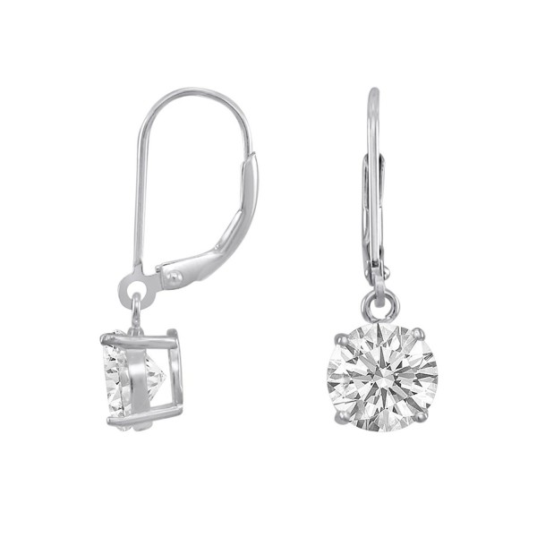 Rose or 18K Gold or Rhodium Plated Silver Basket Setting 8mm Round CZ Leverback Dangle Earrings - C911I5HI4AJ