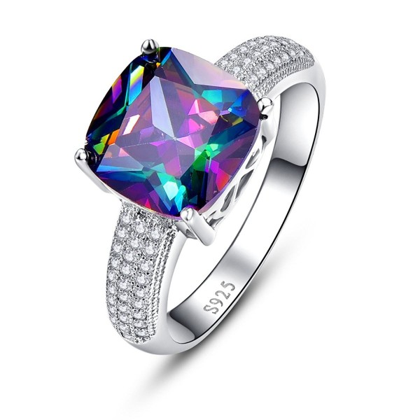 BONLAVIE Women's 7.3 cttw Cushion Cut Created Mystic Rainbow Fire Topaz 925 Sterling Silver Engagement Ring - CF12N41KVI0