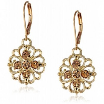 1928 Jewelry Basic Classics Filigree Flower Drop Earrings - Gold-Tone/Light Topaz - CU11F0CG4YV
