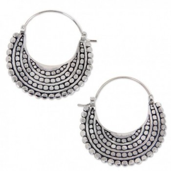 NOVICA .925 Sterling Silver Sea Catch Hoop Earrings 'Moon Sliver' - C912E2XES9V