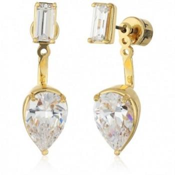Nicole Miller Baguette Pear Earrings Jacket - Gold - CF12N5SX5Y8